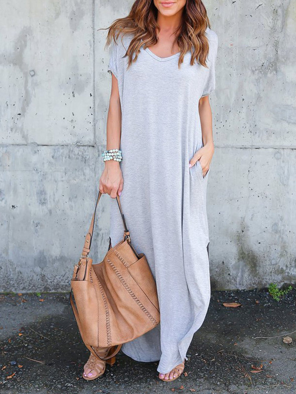 Women   Going out Short Sleeve Cotton Slit Solid Dress