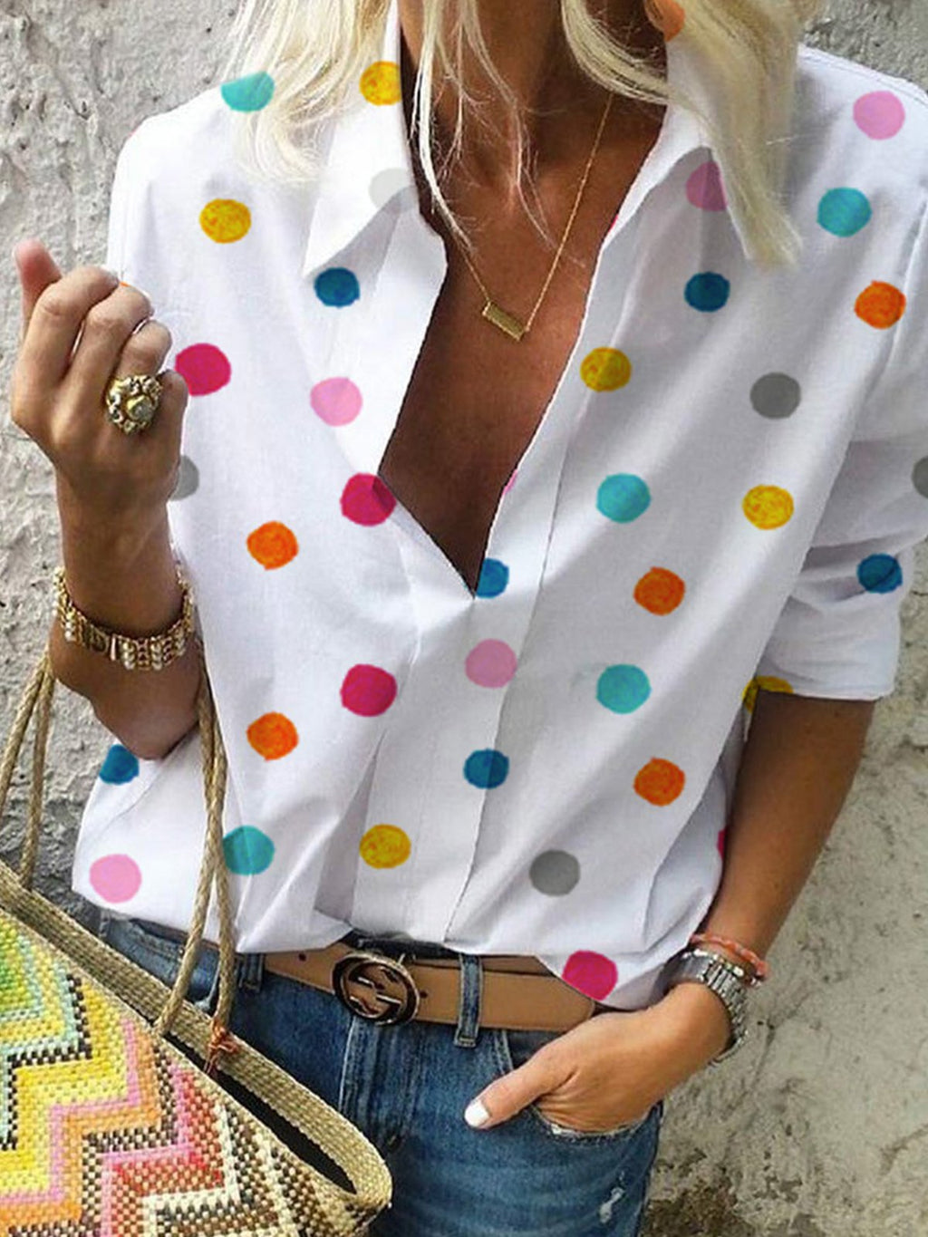 Long Sleeve Polka Dots Floral-Print Casual Shirts & Tops RIKKISHOP