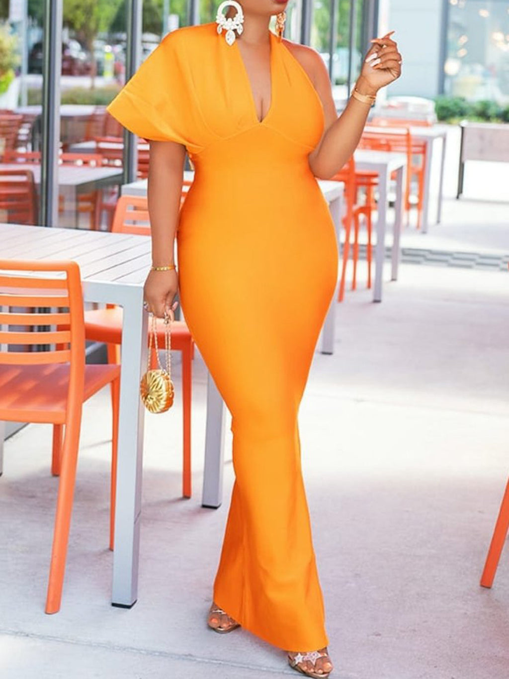 Plus Size Orange Sexy Asymmetrical Single Sleeve Bodycon Evening Gowns Maxi Dress Rikkishop