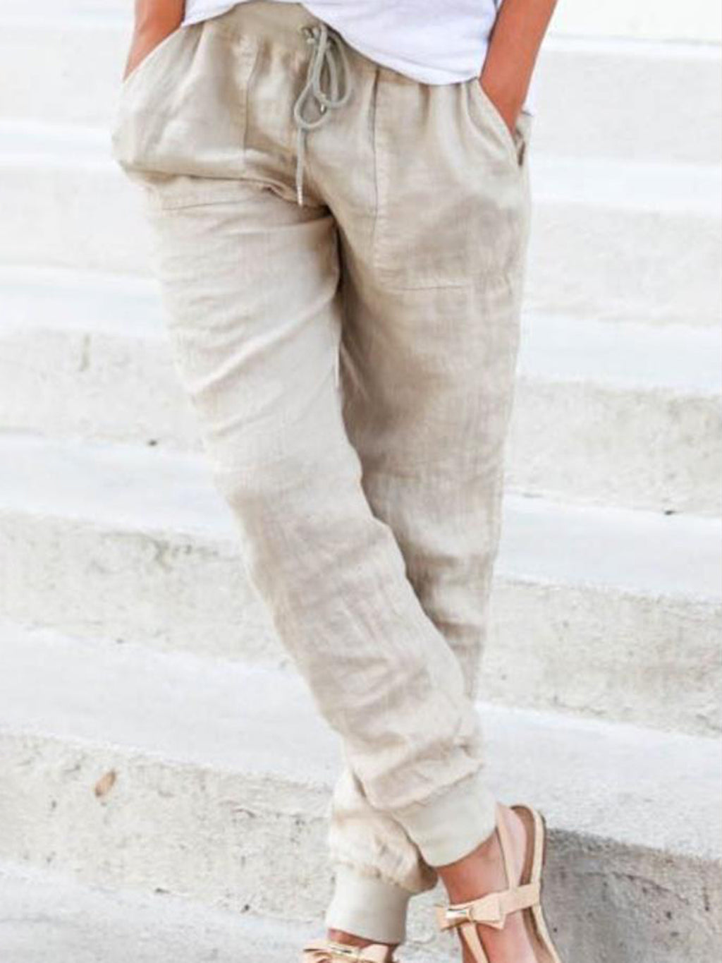 Beige Casual Pockets Drawstring All Season Natural Solid Pants