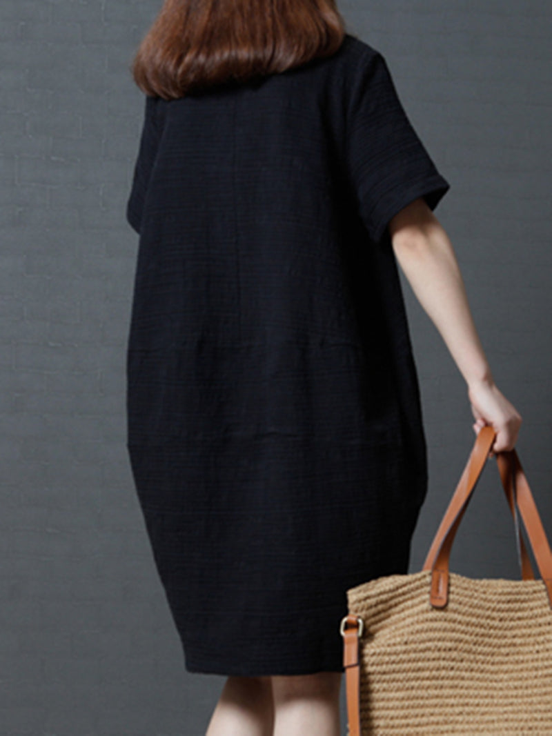 Pockets Solid Color Cocoon Casual Linen Dress