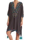 V neck Women Kaftan Fringed Summer Dress Daily Batwing Mini Dress