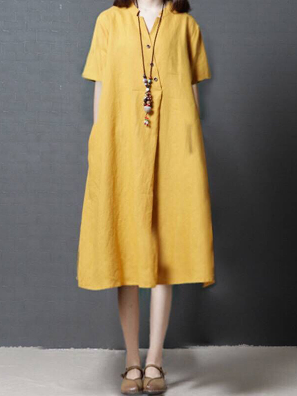 Buttoned Casual V Neck Casual Dress