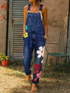 Sleeveless Denim Floral Floral-Print One-Pieces Rikkishop