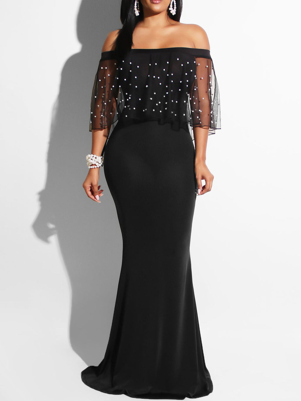 Black Plus Size Evening Gowns Beaded Mesh Cold Shoulder Mermaid Bodycon Maxi Dresses Rikkishop