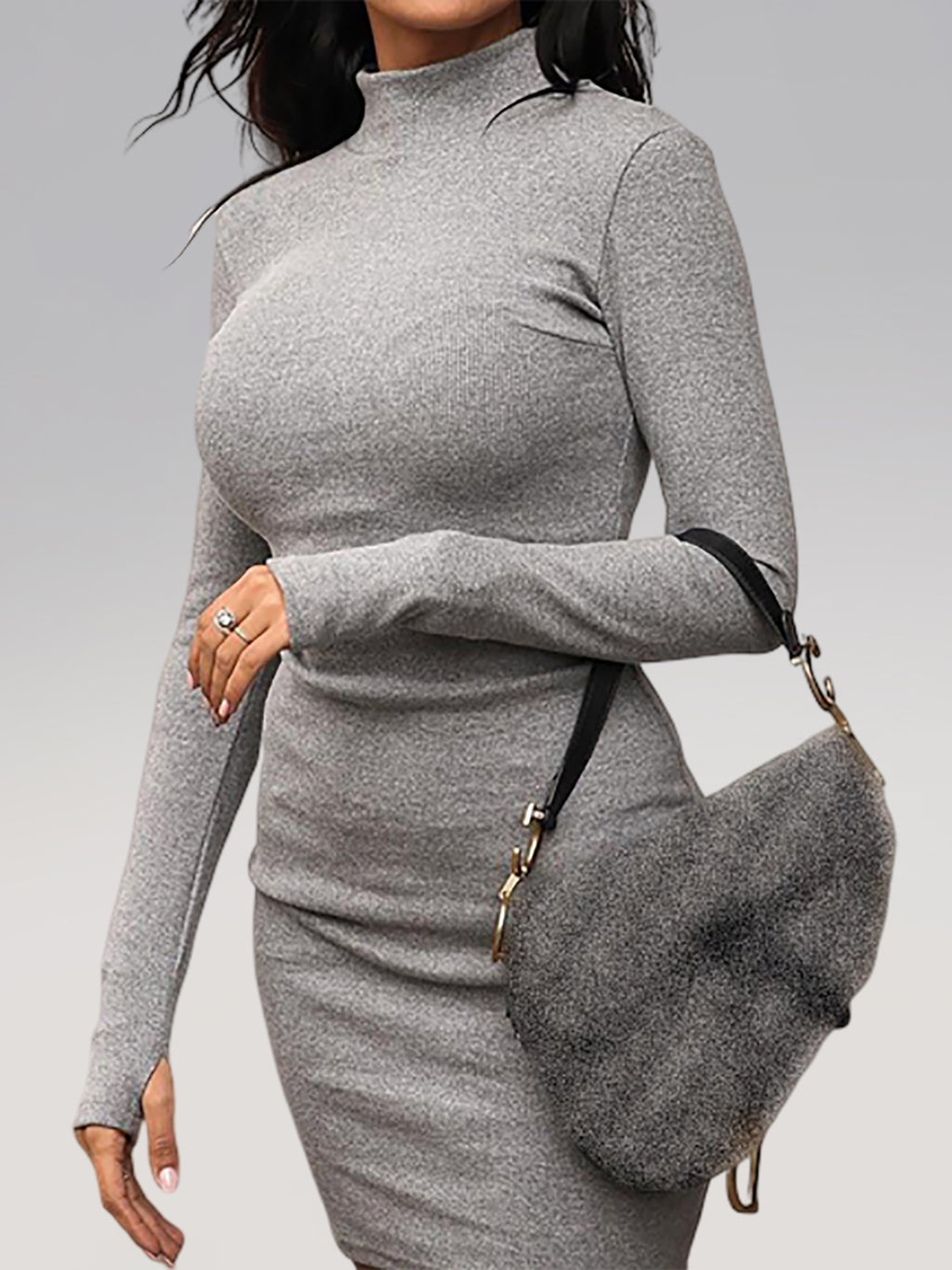 Plus Size Gray Comfortable Turtleneck Ribbed Mid-neck Long Sleeve Bodycon Dress Rikkishop