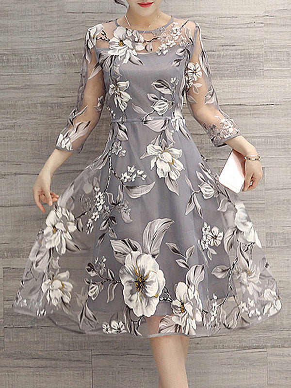 Plus Size Women Gray Going out Elegant 3/4 Sleeve Printed Floral Dress