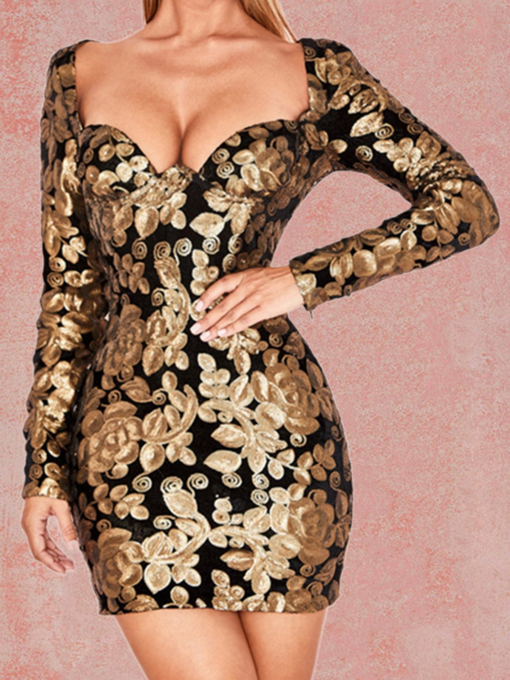 Golden Abstract Long Sleeve Dresses