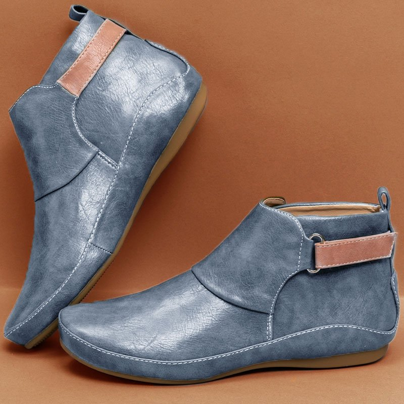 Women Casual Comfy Daily Adjustable Soft Leather Booties Rikkishop
