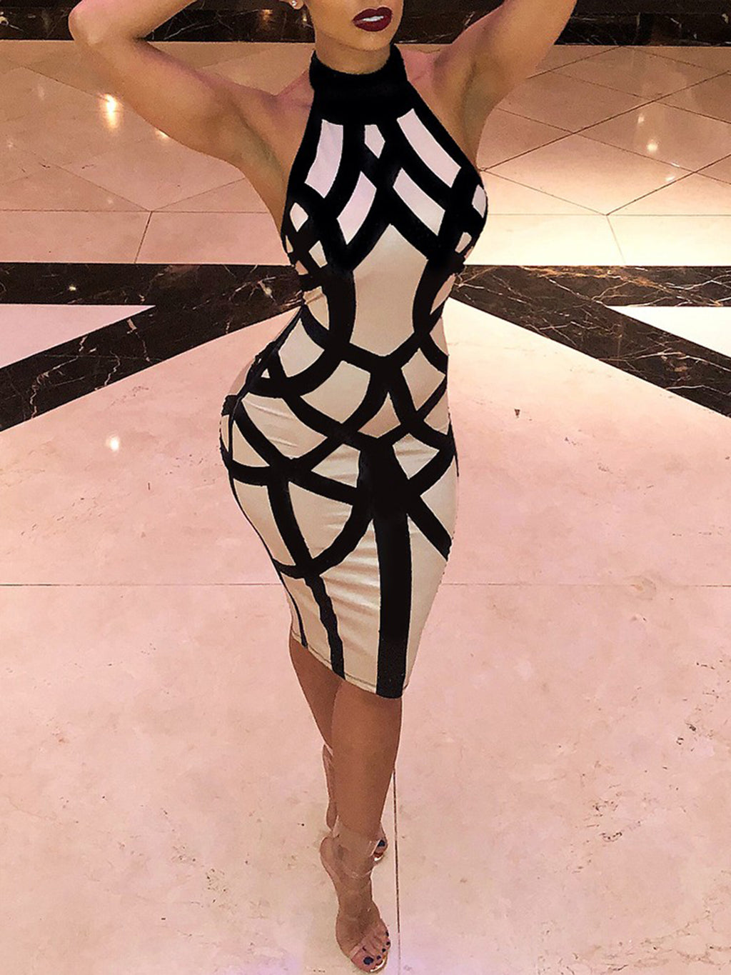 Halter Bandage Backless Bodycon Dress