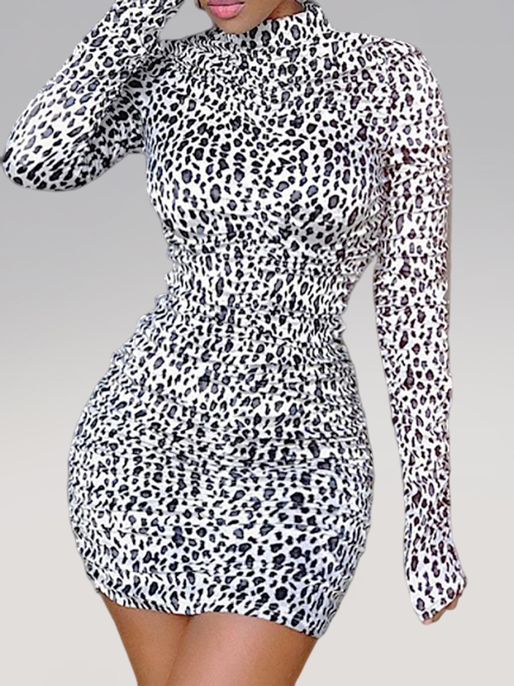 Plus Size Sexy Leopard-print pleated long-sleeved Long Sleeve Bodycon Dress Rikkishop