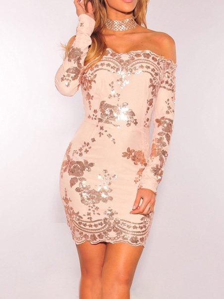 Plus Size Sexy Long Sleeve Off Shoulder Party Golden Sequins Strapless Floral Homecoming Bodycon Dresses Rikkishop