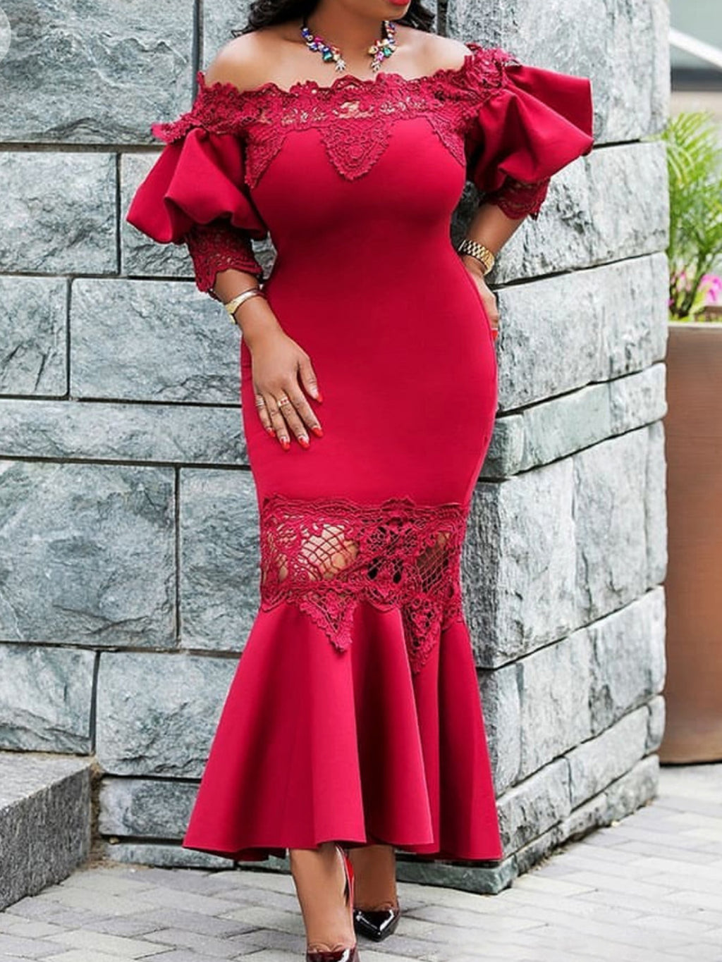 Plus Size Mesh Overlay Mermaid Half Sleeve Off Shoulder Wedding Evening Gowns Maxi Dresses Rikkishop