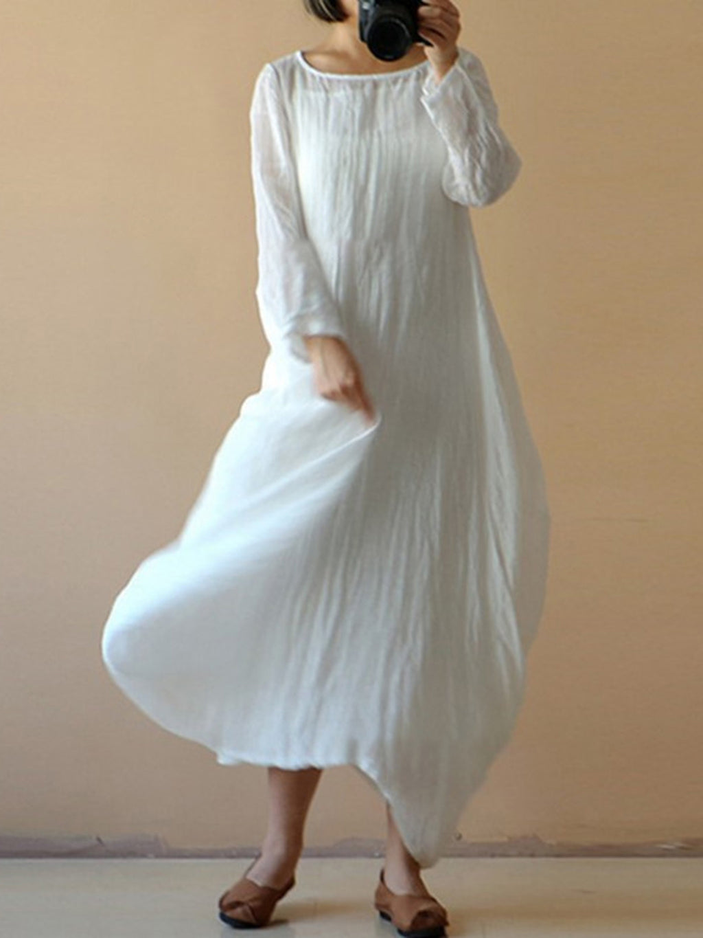 Polyester Long Sleeve Plain Casual Dress