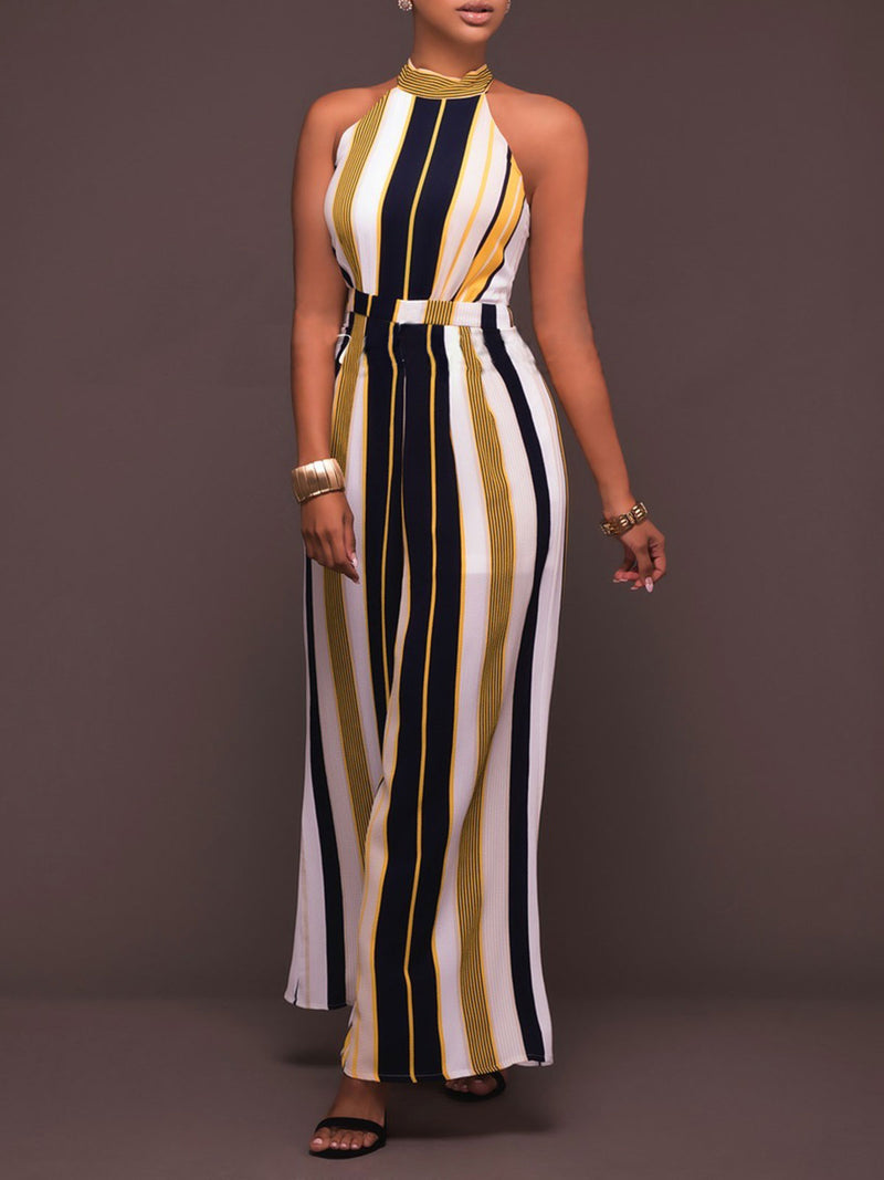 Stripes Halter Sleeveless Jumpsuit