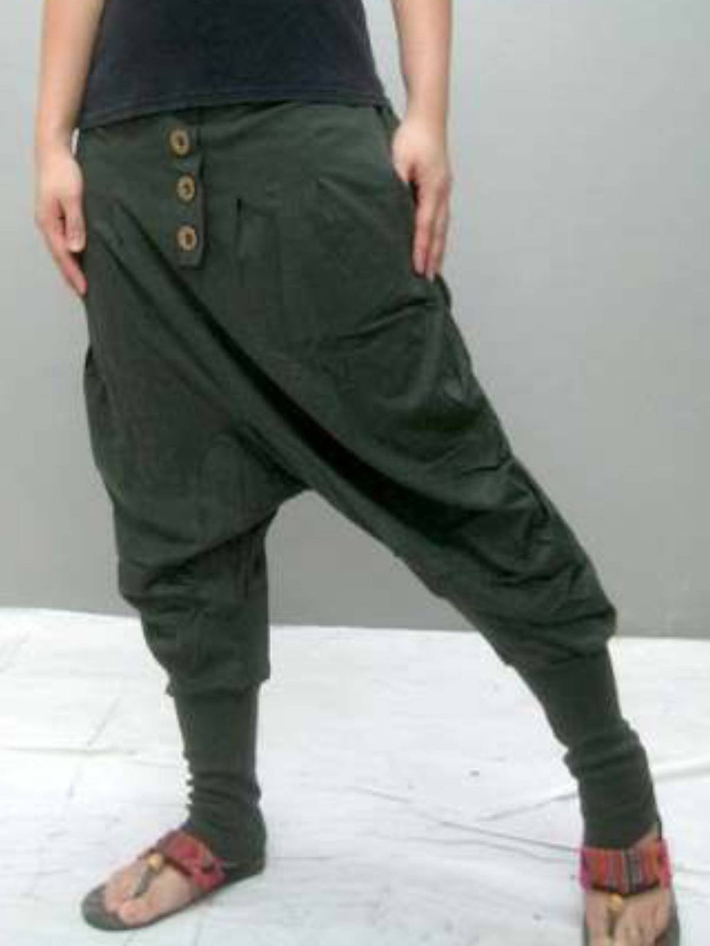Army Green Cotton Casual Plain Pants