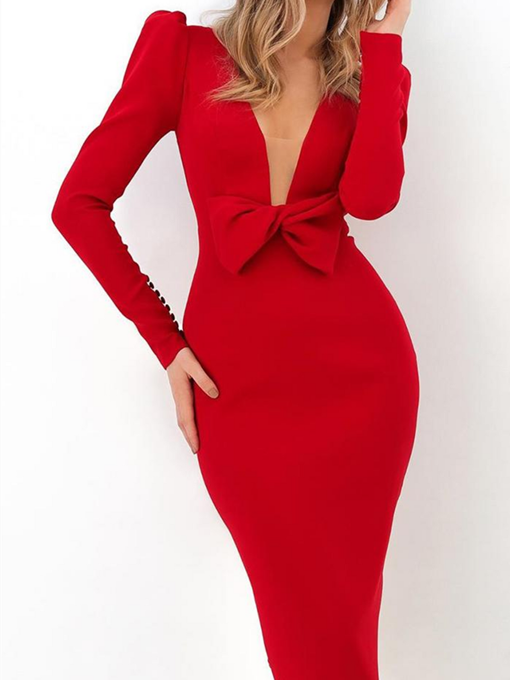Plus Size Red Cotton-Blend Sheath Long Sleeve V Neck Bodycon Dresses Rikkishop