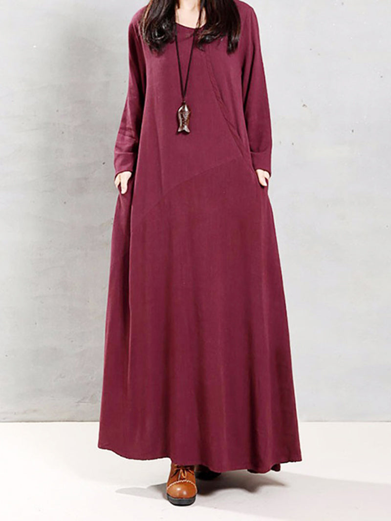 H-line Long Sleeve Plain Crew Neck Casual Dress