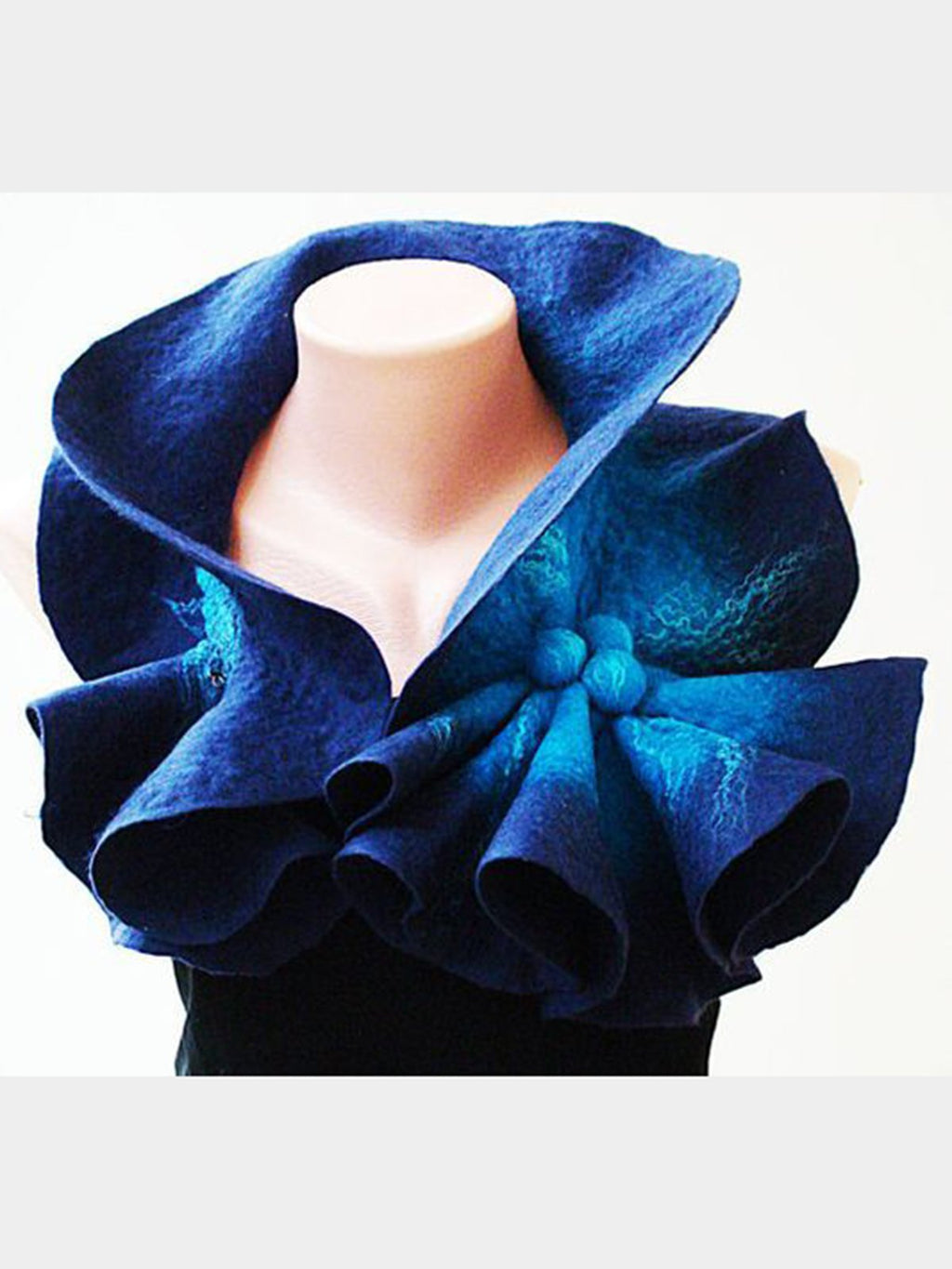 Blue Ombre/tie-Dye Cotton-Blend Casual Paneled Scarves & Shawls