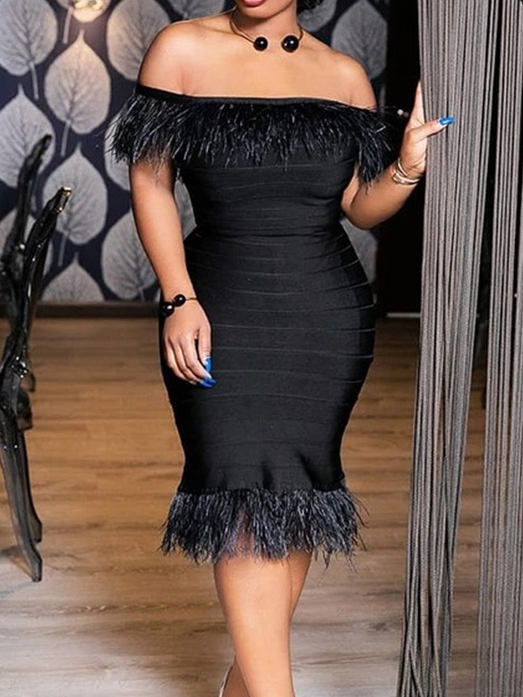 Black Off Shoulder Sexy Party Fringed Strapless Bodycon Dresses Rikkishop