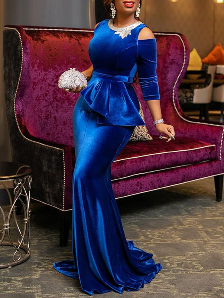 Purplish Blue Plus Size Sexy Evening Gowns Embellished 3/4 Sleeve Mermaid Maxi Dresses Rikkishop
