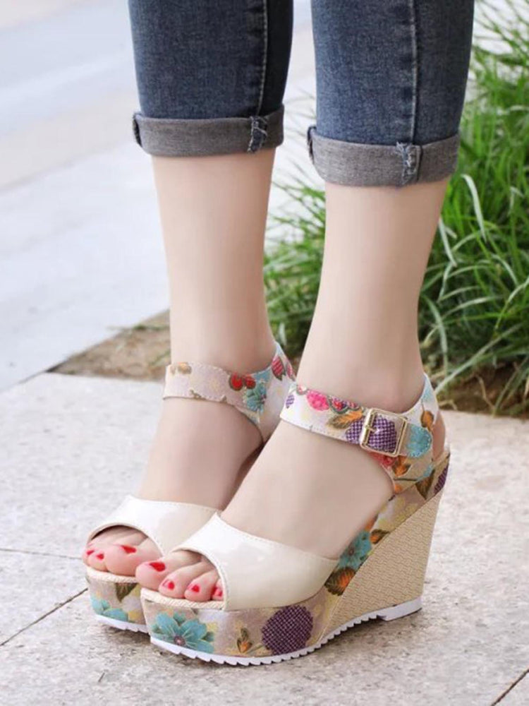 2364b2900 Patent Leather Foral Wedge Heel Fashion Peep Toe Women s Shoes