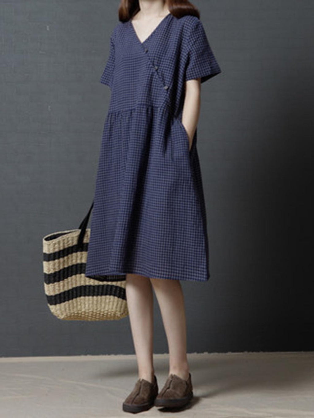 A-line Daytime Short Plaid Dress