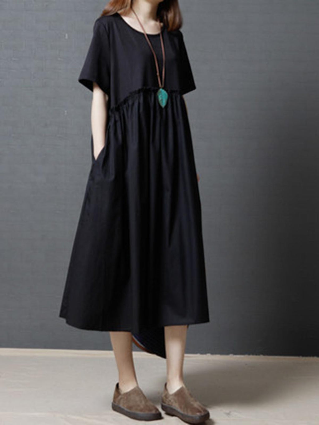 Vintage Contrast Color Short Sleeve O-neck Maxi Dresses