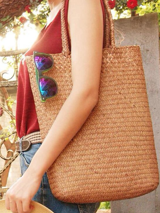 SIMPLE LITERATURE SHOULDER STRAW BAG