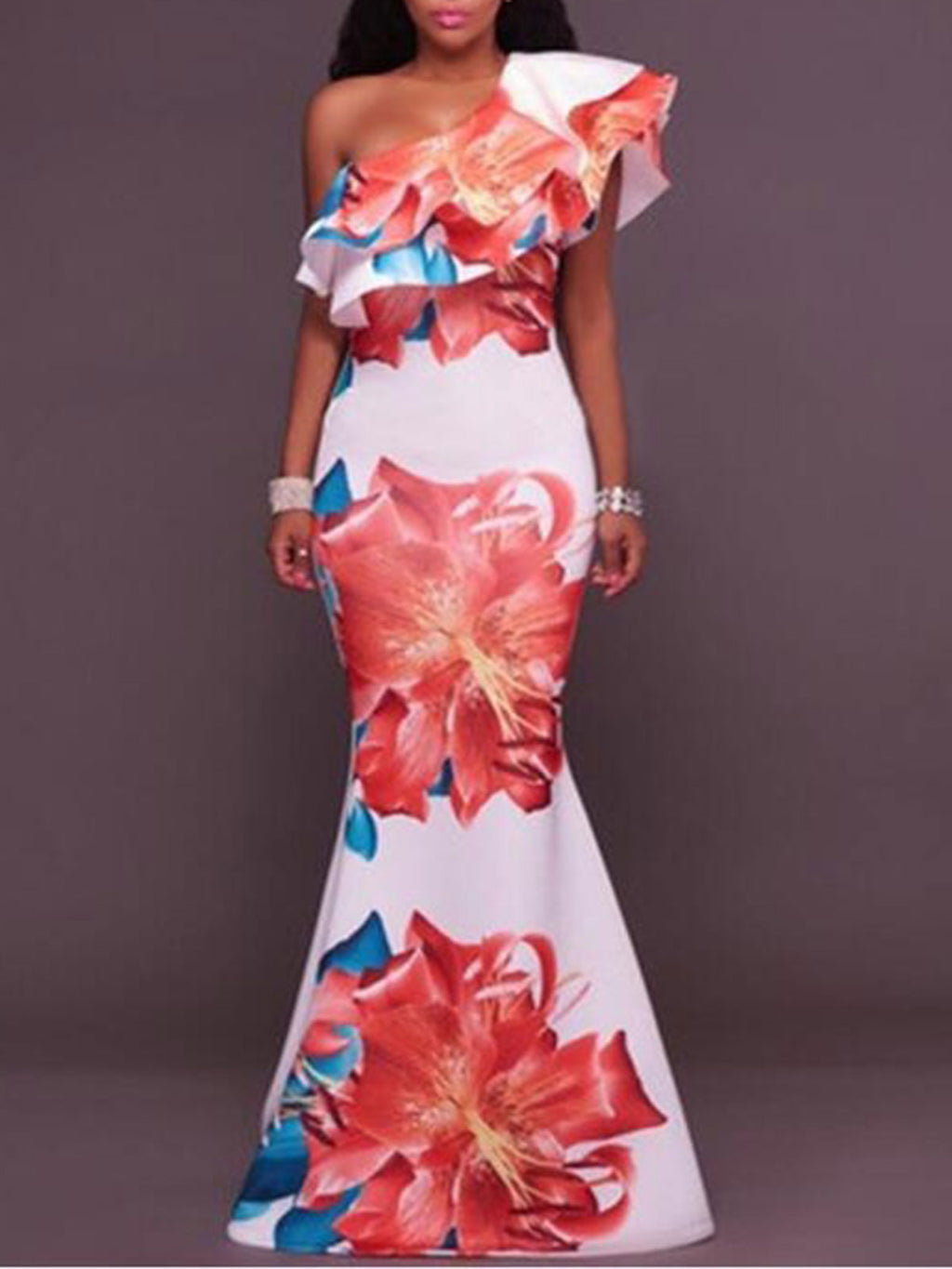 2019 Sexy Floral Print One-Shoulder Trumpet Bodycon Evening Gowns Maxi Dress Rikkishop