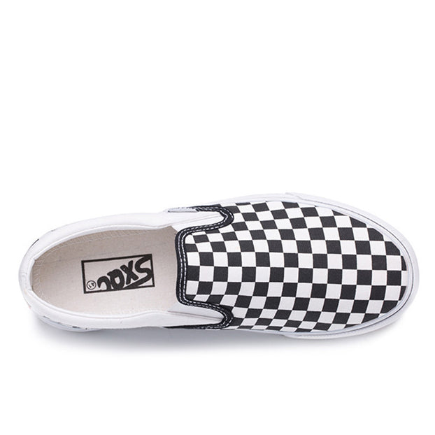 Black Fashion Canvas Slip On Checkerboard Loafers Sneakers Vans Tennis Checkered Shoes Rikkishop