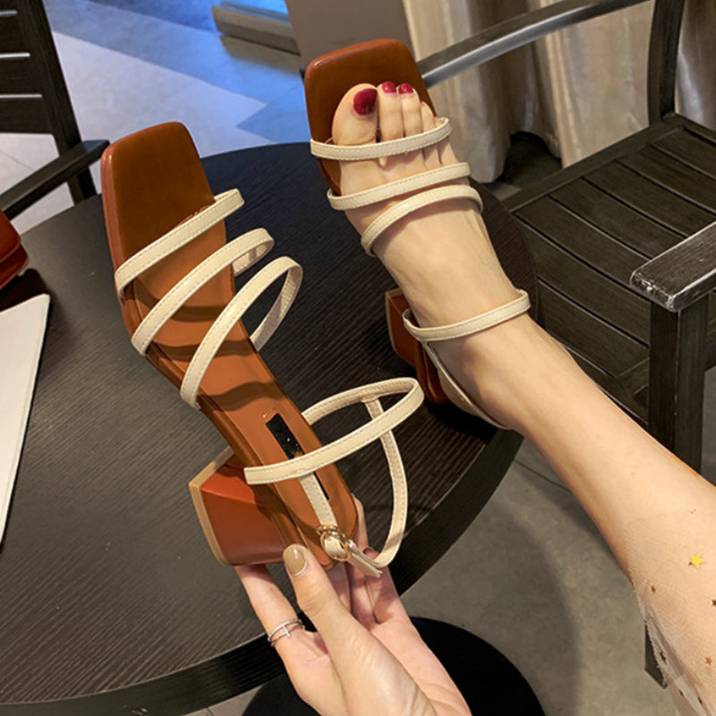 Pi Clue Block Heel Leather Sandals