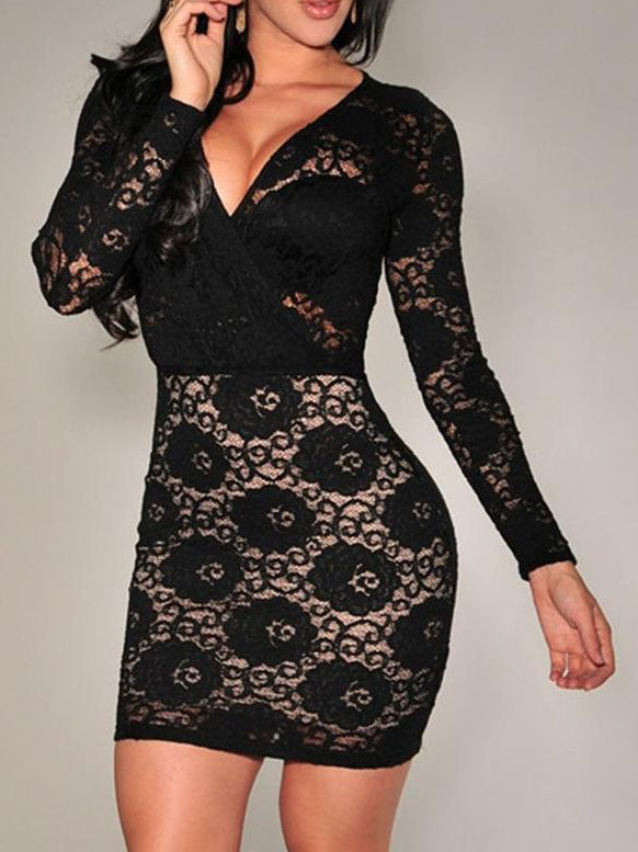 Black Sexy Long Sleeve See-Through Look Work Pencil Bodycon Dresses Rikkishop