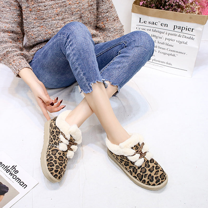 Women Winter Casual Warm Lining Leopard Ankle Boots