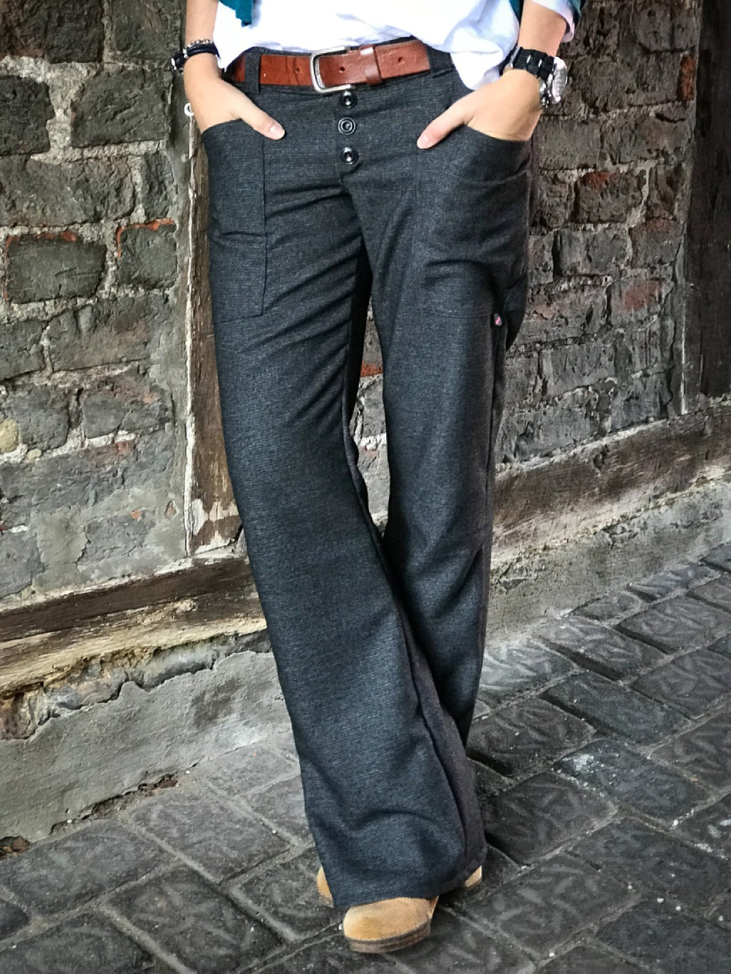 Casual Plain Plus Size Pants