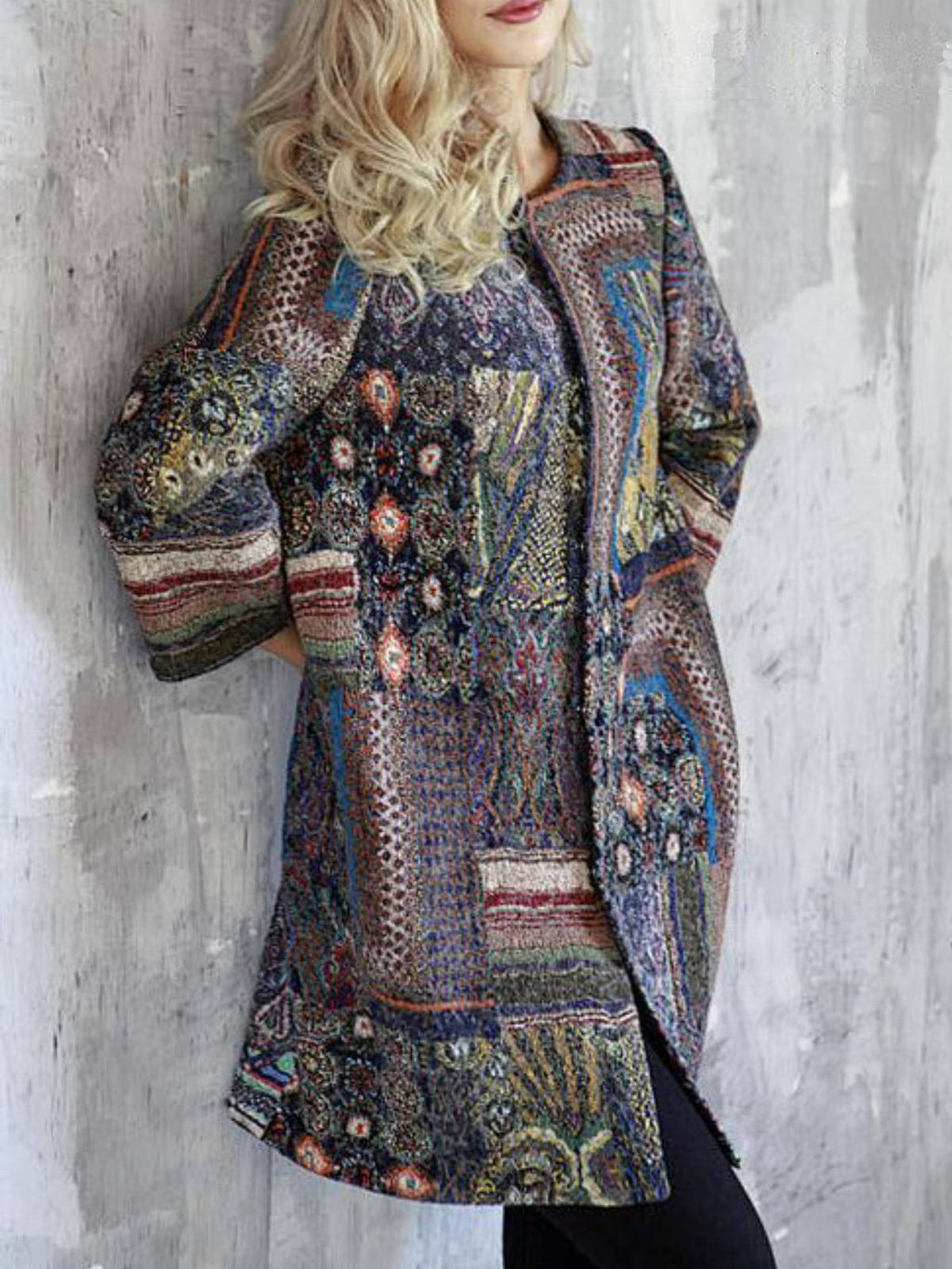 Multicolor Tribal Floral-Print Boho Outerwear
