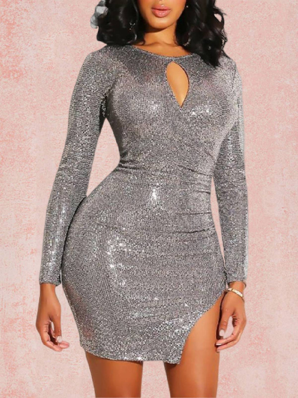 Silver Cutout Crew Neck Sexy Dresses