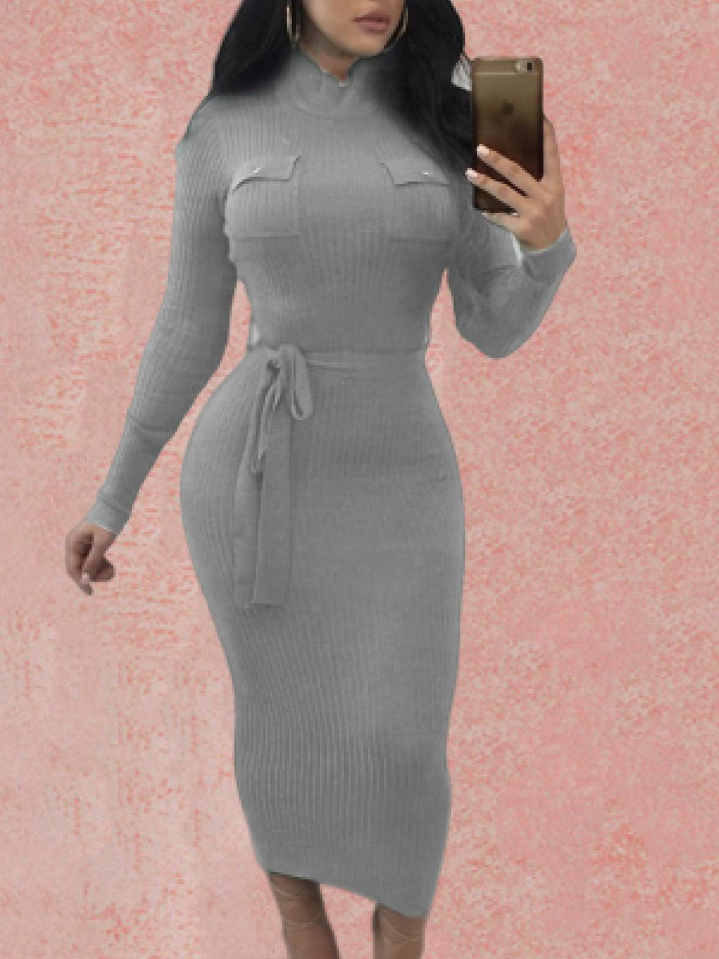Turtleneck Sexy Cotton-Blend Long Sleeve Dresses