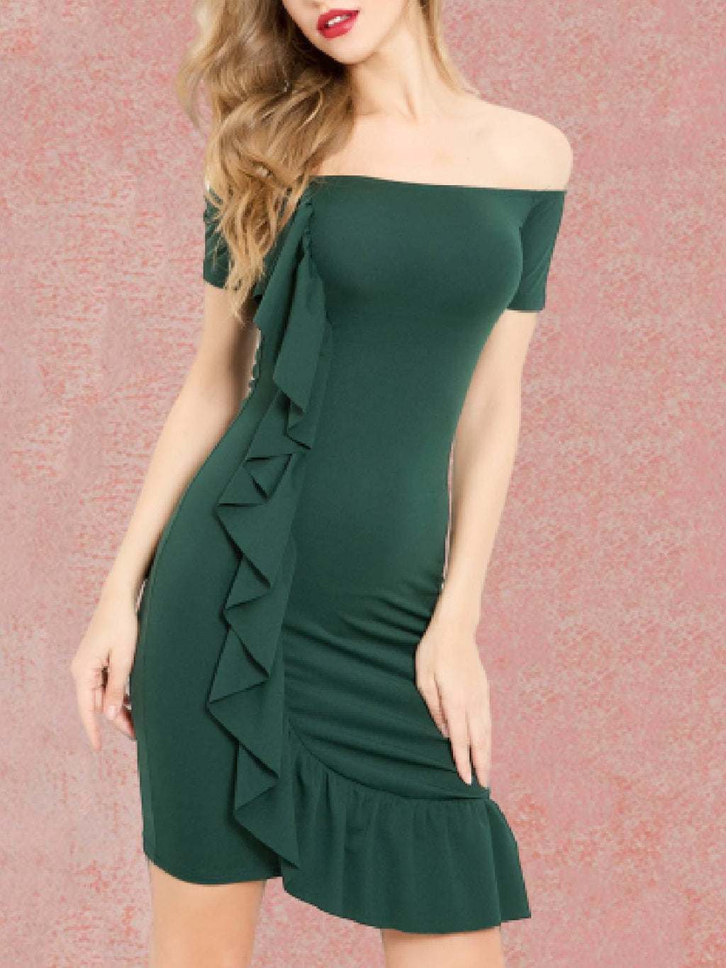 Darkgreen Elegant Off Shoulder Ruffle Midi Day Dress Rikkishop