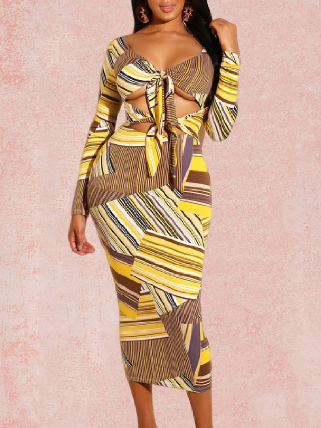 Yellow V Neck Stripes Long Sleeve Bodycon Midi Day Dress Rikkishop