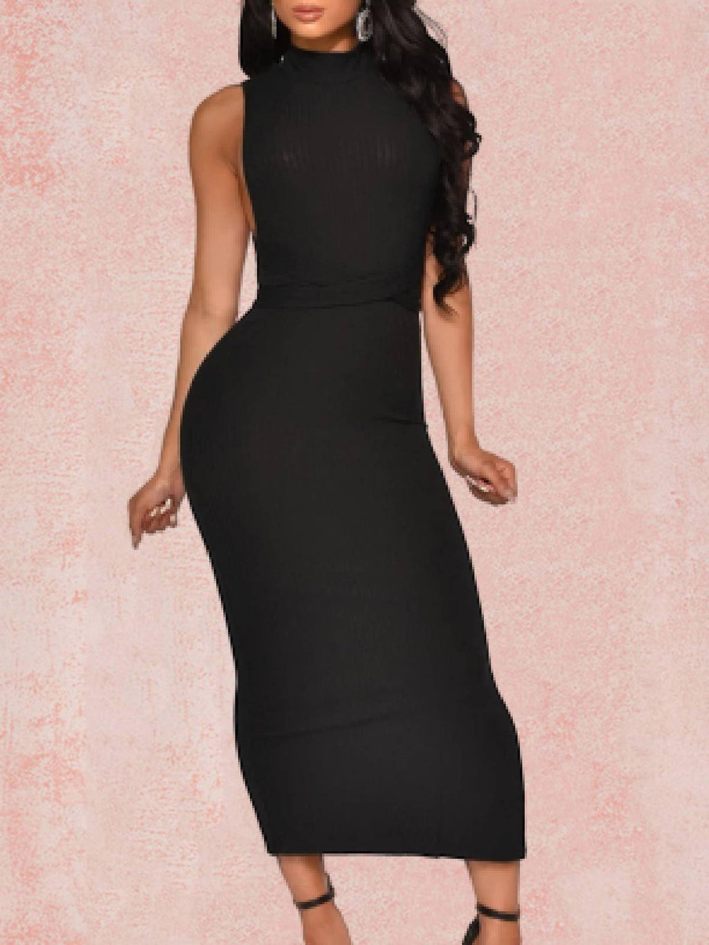 Black Solid Halter Sheath Cold Shoulder Dresses