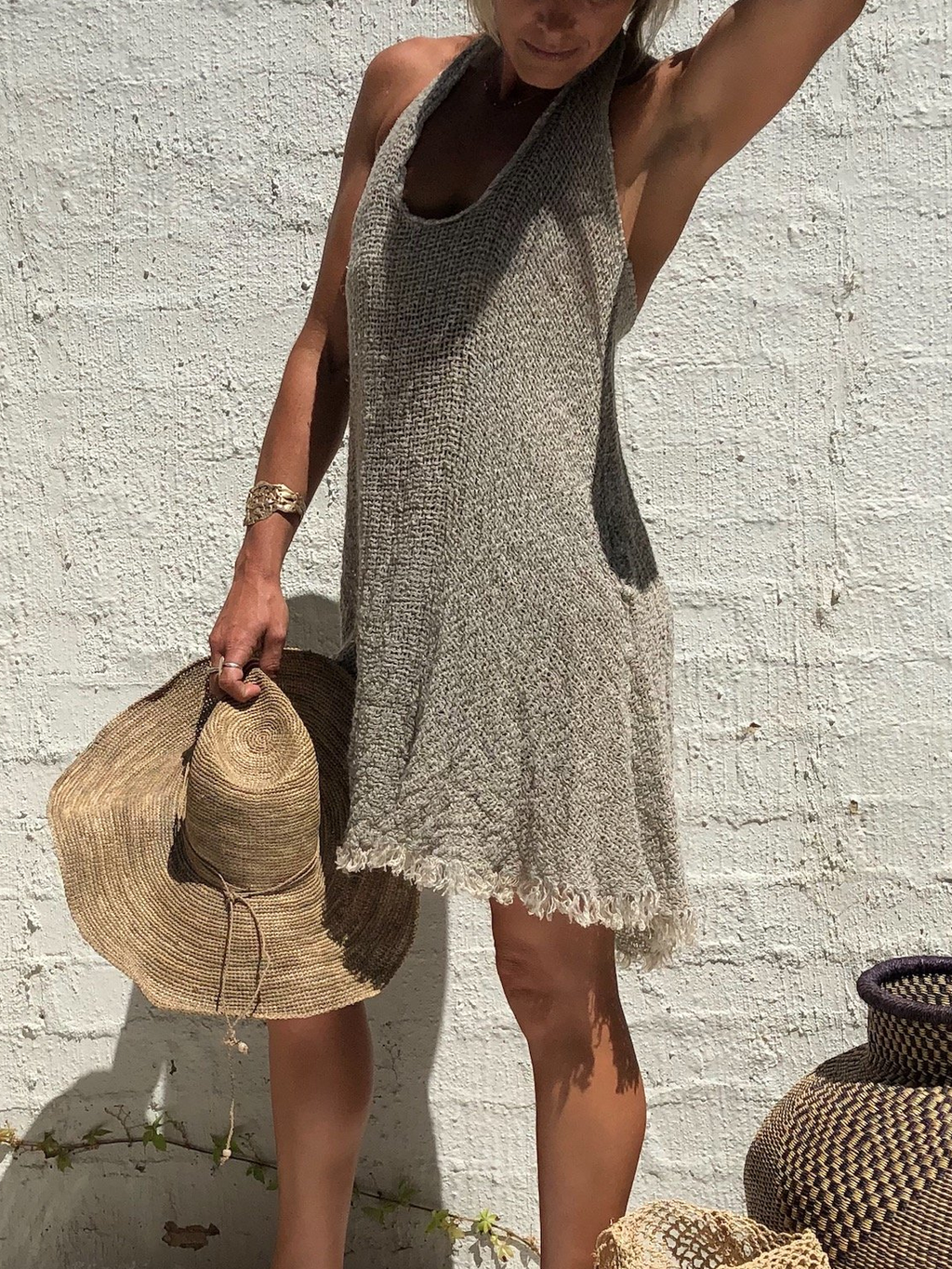 Casual Solid Cotton-Blend Dresses