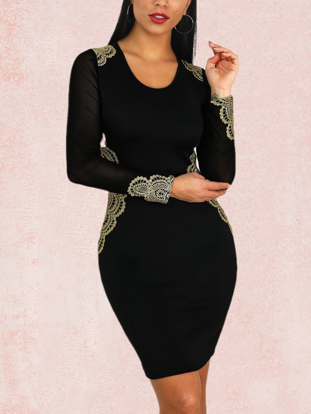 Sexy Elegant Long Sleeve Round Neck Plus Size Bodycon Dress