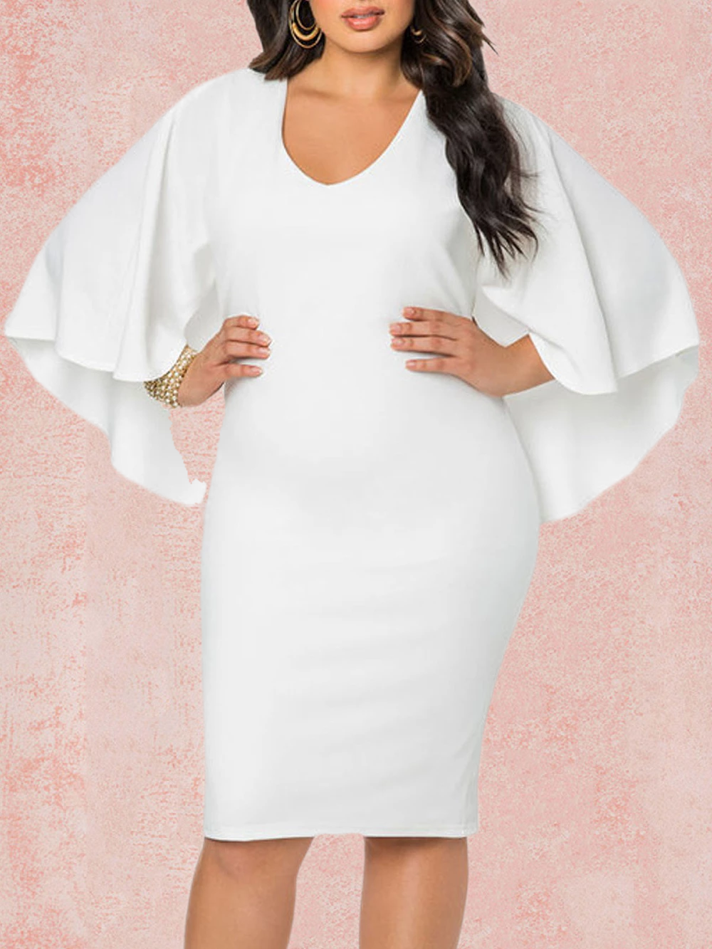 Elegant Caped  Round Neck Plus Size Bodycon Midi Dress Rikkishop