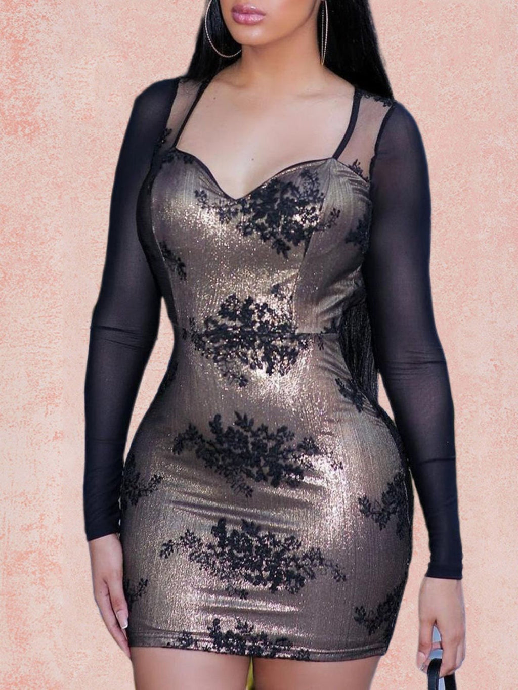 Elegant Long Sleeve Plus Size Bodycon Day Dress Rikkishop