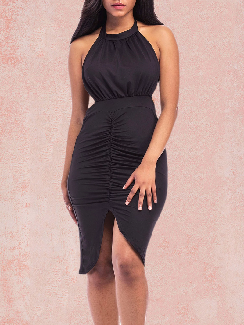 Sexy Halter Pleated Off Shoulder Bodycon Midi Dress Rikkishop