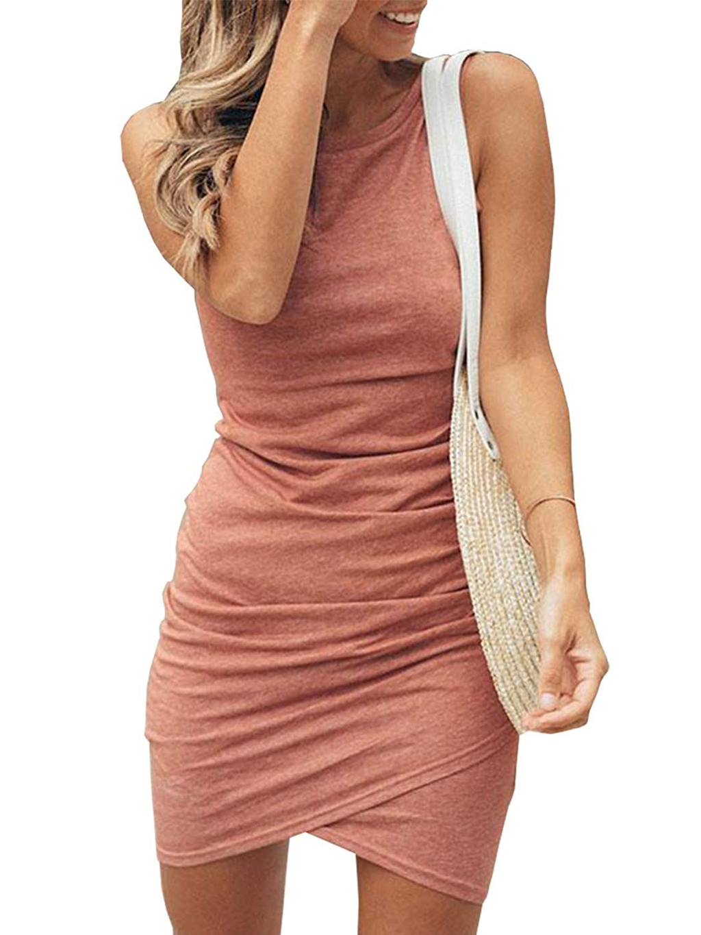 Sexy Plus Size Sleeveless Asymmetric Bodycon Dresses Rikkishop