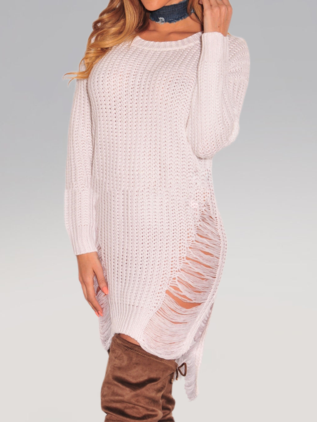 White Sexy Knitted See-Through Look Long Sleeve Bodycon Dress Rikkishop