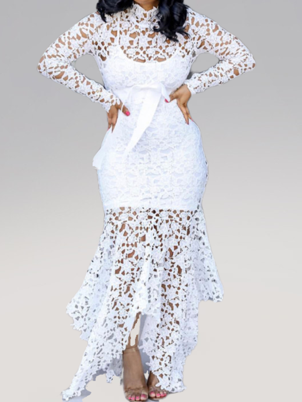 Plus Size White Lace Asymmetrical Long Sleeve Bodycon Dress Rikkishop