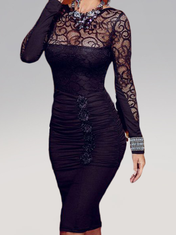 Black Plus Size Wedding Sexy Jacquard Mesh Overlay Long Sleeve Bodycon Dress Rikkishop